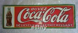 Grande plaque tôle anciénne COCA COLA, rare- La 1 ere pub COCA COLA en FRANCE