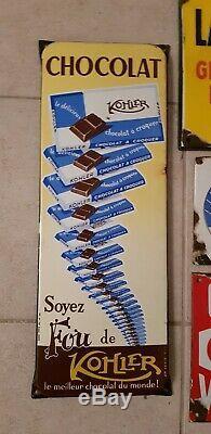 Gros lot plaques emaillees anciennes chocolat Kohler potasse chicorée Vigroux