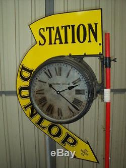 HORLOGE STATION DUNLOP BRILLIE bidon huile oil can michelin pompe tanksaule