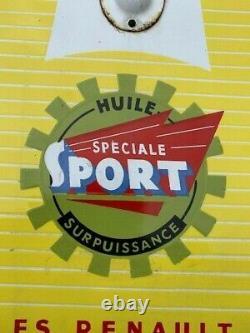 HUILE RENAULT Spéciale Sport Thermomètre émaillé plat oreille plaque automobile