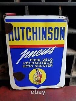 HUTCHINSON Rémouleur ancienne plaque émaillée Emaillerie Alsacienne