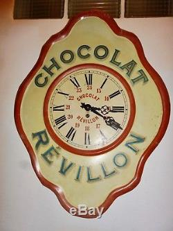 Horloge Chocolat Revillon En Tôle État Exceptionnel! Années 30