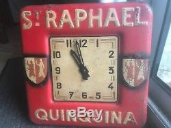 Horloge pas tole Emaillee ST RAPHAEL QUINQUINA bistrot pub