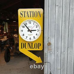 Horloge publicitaire de garage station Dunlop