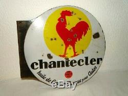Huile Chantecler Plaque Émaillée Ancienne Old Enamelled Plate Oil Advertising