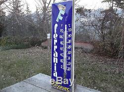 Insegna Targa Tabella Termometro Smaltato Bombato Ferra Grande. 98 X 3 CM Circa