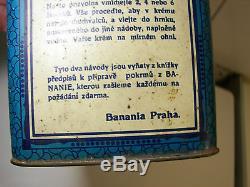Incroyable! Boîte BANANIA Tchèque 1930s Ad Cocoa Tin Kakao Blechdose