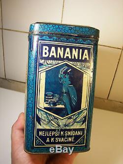 incroyable bo te banania tch que 1930s ad cocoa tin kakao blechdose. Black Bedroom Furniture Sets. Home Design Ideas