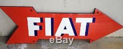 Insegna Targa Smaltata Freccia Fiat Officina Meccanica Anni 50/60 Old Fabbrica