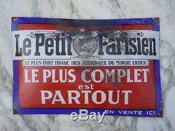 Journal Le Petit Parisien plaque émaillée gravure Paris émail Alsacienne 1920