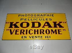 KODAK VERICHROME TRES GRANDE PLAQUE EMAILLEE ANCIENNE 153x75cm vers 1960