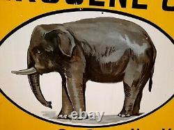 Kerosine Oil Socony plaque émaillée éléphant garage double face 1920