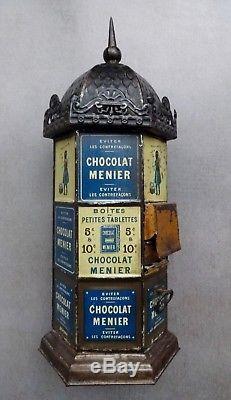 Kiosque distributeur tablettes CHOCOLAT MENIER 1893 boite no plaque émaillée