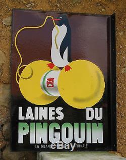 Laines Du Pingouin. Plaque Emaillee Double Face. 45 X 61 Cm. Will Lacroix