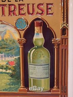 Liqueurs Grande Chartreuse Plaque Publicitaire tôle litho Rarissime