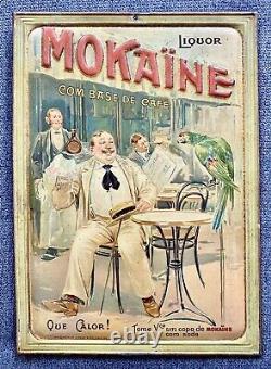 Liquor Mokaïne au Café Tôle Lithographiée embossée / Bistrot 1900 / Perroquet