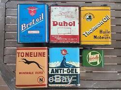 Lot 6 Bidon Dhuile Ancien DUHOL, WHIZ, TONELINE. Plaque Émaillée Oil Can Öldose