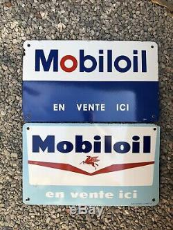 Lot De 2 Plaques Emaillees Huile Mobil Mobiloil