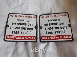 Lot de deux plaques émaillées pompe à essence BOUTILLON + vis fixation laiton