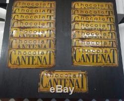 Lot plaques publicitaires ancienne tôle peinte Chocolat CANTENAT Vintage X 15