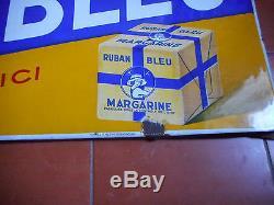 MARGARINE RUBAN BLEU. Grande plaque émaillée publicitaire. Emailleries Alsaciennes