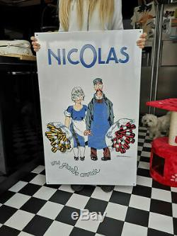 Magnifique plaque émaillée Nectar Nicolas 100 cm x 63 cm édition limitée