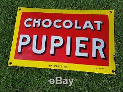 Magnifique plaque émaillée bombée Chocolat Pupier Rare