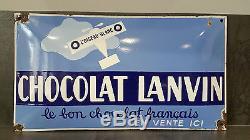 Magnifique plaque émaillée bombée CHOCOLAT LANVIN L'OISEAU BLANC