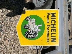 Michelin Bonhomme Tracteur Jaune Plaque en Émail Email Signes
