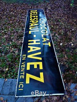 Monumentale Ancienne Plaque émaillée CHOCOLAT DELESPAUL HAVEZ strasbourg 3mètres