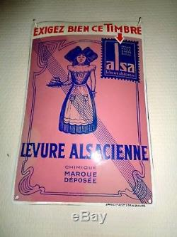 /! \ NOUVEAU PRIX /! \ PLAQUE EMAILLéE très rare TIMBRE ALSA +/-1920