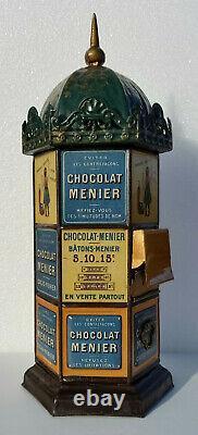 Neuf kiosque tirelire tole litho chocolat menier 1895 no plaque emaillee banania
