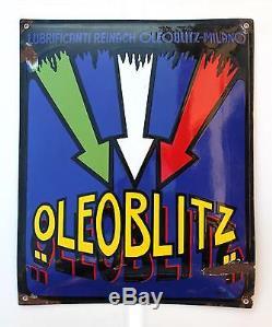 OLEOBLITZ REINACH MILANO 1925 PLAQUE EMAILLEE SMALTATA benzina petroli olio