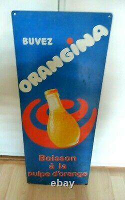 ORANGINA Ancienne Plaque Publicitaire En Tole 75x35cm années 70