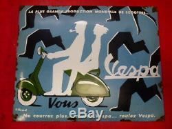 ORIGINALE plaque émaillée VESPA ROULEZ VESPA VILLEMOT 1950 ACMA ARDOR VIGANO