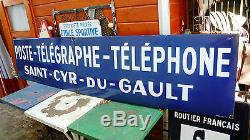 Objet Métier Vintage Plaque Tôle émaillée Agence Poste Téléphone Télégraphe 1930