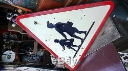 Objet de Métier Vintage Panneau Routier Passage Piéton Plaque Tôle émaillée 1958