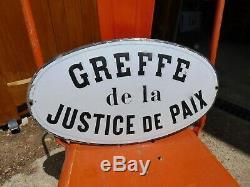 Objet de Métier Vintage Rare Plaque Tôle émaillée Bombée 1910 GREFFE de Justice
