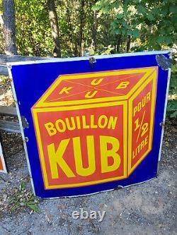 Originale ancienne plaque émaillée KUB 1m x 1m signée Ed. Jean Paris