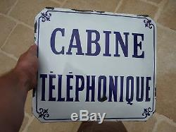 PLAQUE BOMBEE TOLE EMAILLEE CABINE TELEPHONIQUE debut XXème EMAIL JEAN