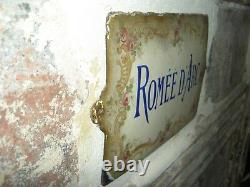 PLAQUE Bombée Villa Maison émaillé ancienne 1900 ROMEE D'ARC no cafetière