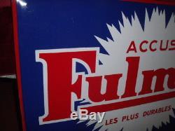PLAQUE EMAILLEE ACCUS FULMEN bidon huile oil esso shell bp azur fina caltex