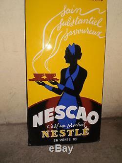 PLAQUE EMAILLEE ANCIENNE NESCAO E. A. S PUBLICITE CHOCOLAT