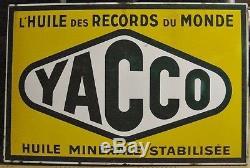 PLAQUE EMAILLEE ANCIENNE YACCO Huile minérale stabilisée 1954