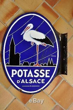 PLAQUE EMAILLEE ANCIENNE double face potasse d'Alsace Cigogne HANSI