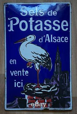 PLAQUE EMAILLEE ANCIENNE sel de POTASSE D'ALSACE