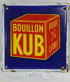 PLAQUE EMAILLEE Ancienne BOUILLON KUB Carree Polychrome Enamel Vintage Epicerie