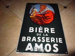 PLAQUE EMAILLEE BIERE AMOS BRASSERIE METZ LORRAINE