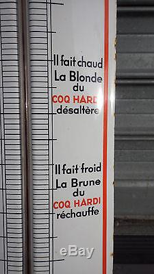 PLAQUE EMAILLEE BOMBEE THERMOMETRE COQ HARDI TRES BELLES COULEURS