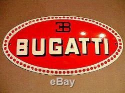 PLAQUE EMAILLEE BOMBEE pochoir BUGATTI AUTOMOBILE enameled sign emailschild